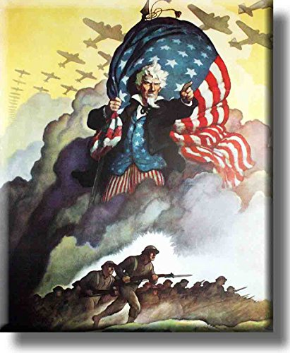 Vintage Uncle Sam War Picture on Stretched Canvas, Wall Art Decor, Ready to Hang!