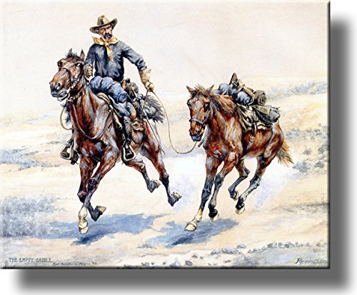 The Empty Saddle Cowboy Picture on Stretched Canvas, Wall Art Decor, Ready to Hang!