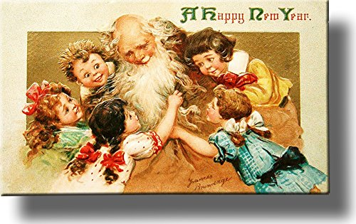 Happy New Year, Kids with Grandpa Picture on Stretched Canvas, Wall Art Décor, Ready to Hang!
