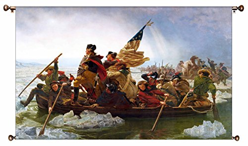 George Washington Crossing Delaware Picture on Large Canvas Hung on Copper Rod, Ready to Hang, Wall Art Décor