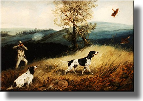 Hunting with Dogs Picture on Stretched Canvas, Wall Art Décor, Ready to Hang!