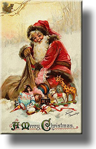 Santa Clause with Presents Picture on Stretched Canvas, Wall Art Decor, Ready to Hang!