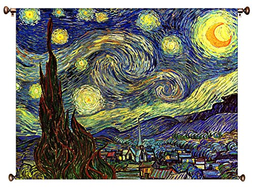 Starry Night by Vincent van Gogh Picture on Large Canvas Hung on Copper Rod, Ready to Hang, Wall Art Décor