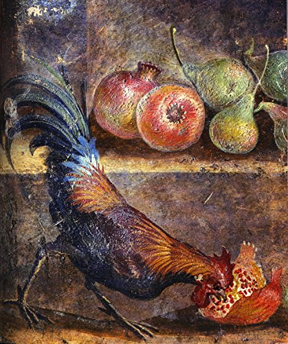 Rooster Cock Picking Pomegranate Seeds Painting Kitchen Wall Decor on Stretched Canvas, Ready to Hang!.