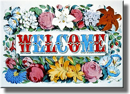 Welcome Flower Sign Picture on Stretched Canvas, Wall Art Décor, Ready to Hang!