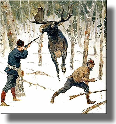 The Moose Hunt By Remington Picture on Stretched Canvas, Wall Art Décor, Ready to Hang!