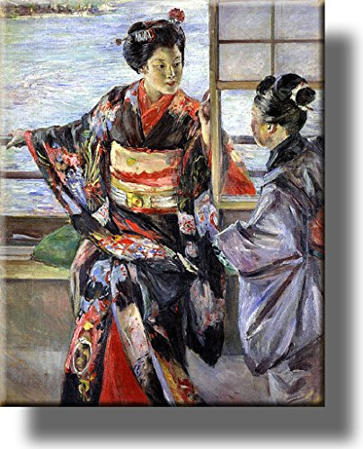 Japanese Women Painting Picture on Stretched Canvas, Wall Art Décor, Ready to Hang!