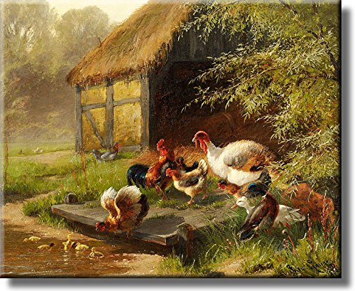 Farm White Turkey and Chickens Picture on Stretched Canvas, Wall Art Decor, Ready to Hang