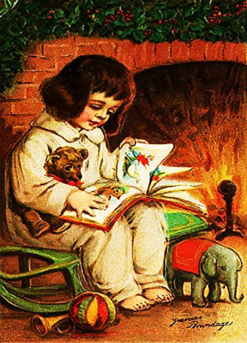 Boy Reading and Waiting for Santa Claus, Picture on Stretched Canvas, Wall Art Décor, Ready to Hang!