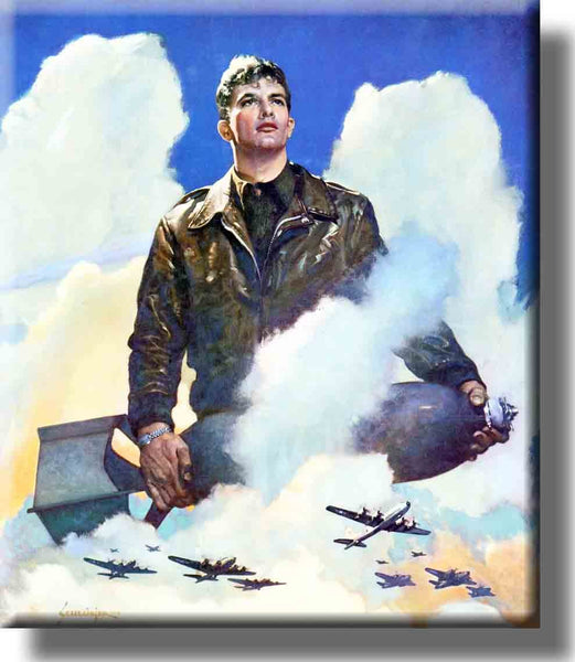 US Airforce Plane Pilot Picture on Stretched Canvas, Wall Art decor, Ready to Hang!