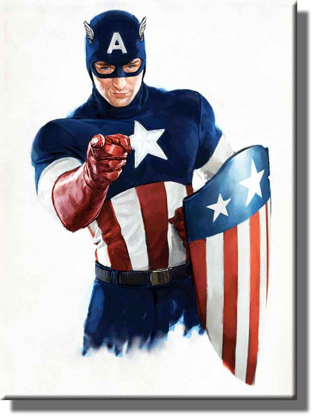 Captain America Picture on Stretched Canvas, Wall Art decor, Ready to Hang!