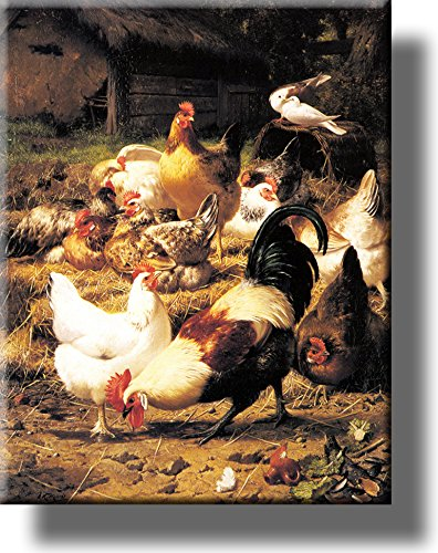 Chicken on a Farmyard Picture on Stretched Canvas, Wall Art Décor, Ready to Hang!