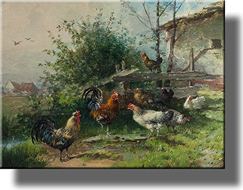 Rooster and Chicken Hens, Farm Animals Wall Picture on Stretched Canvas, Wall Art Décor, Ready to Hang!