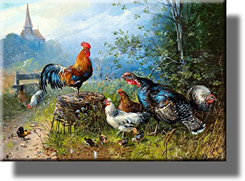 Animal Farm of Chickens Picture on Stretched Canvas, Wall Art Décor, Ready to Hang!