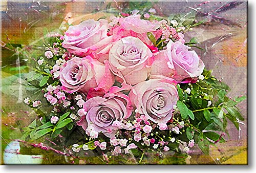Pink Roses Painting Picture on Stretched Canvas, Wall Art Décor, Ready to Hang