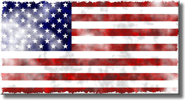 Vintage American Flag Antique Picture on Stretched Canvas, Wall Art Decor, Ready to Hang!