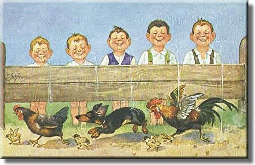 Boys Urinating Contest on a Farm Picture on Stretched Canvas, Wall Art Decor, Ready to Hang!