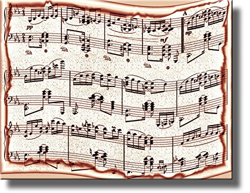 Music Notes Picture on Stretched Canvas, Wall Art Decor Ready to Hang!.