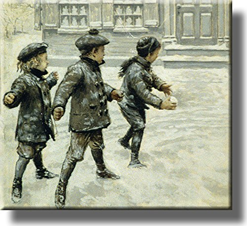 Boys Throwing Snowballs Picture Made on Stretched Canvas Wall Art Decor Ready to Hang!.