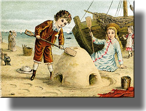 Boy and Girl Playing in Sand Vintage Style Picture on Stretched Canvas, Wall Art Décor, Ready to Hang!