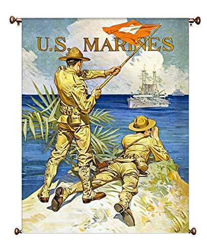 US Marines Vintage Picture on Large Canvas Hung on Copper Rod, Ready to Hang, Wall Art Décor