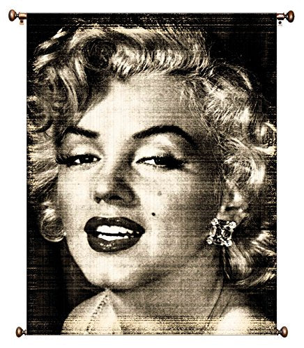 Vintage Marilyn Monroe Black/White Picture on Large Canvas Hung on Copper Rod, Ready to Hang, Wall Art Decor