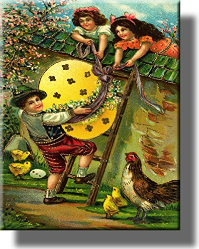 Boy with Easter Egg Picture on Stretched Canvas, Wall Art Décor, Ready to Hang!