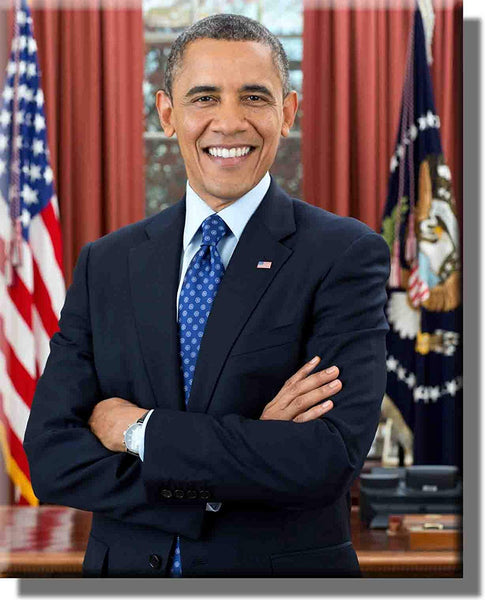 Portrait of President Barack Obama Picture on Stretched Canvas, Wall Art Décor, Ready to Hang!