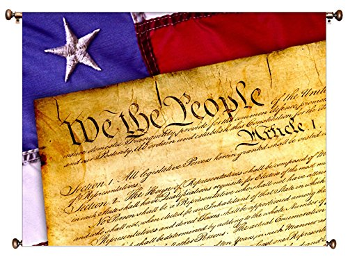 We the People, US Constitution Picture on Canvas Hung on Copper Rod, Ready to Hang, Wall Art Décor