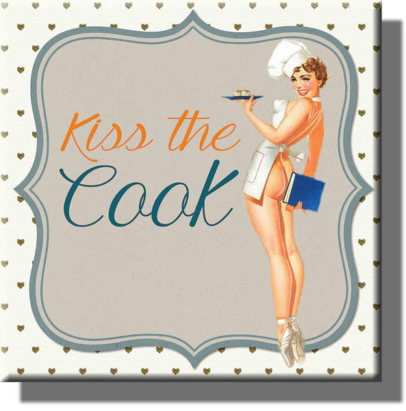 Kiss the Cook Vintage Picture on Stretched Canvas, Wall Art Decor, Ready to Hang!