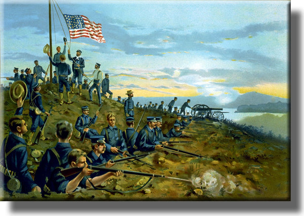 Civil War Battle US Flag Vintage Picture on Stretched Canvas, Wall Art Décor, Ready to Hang!