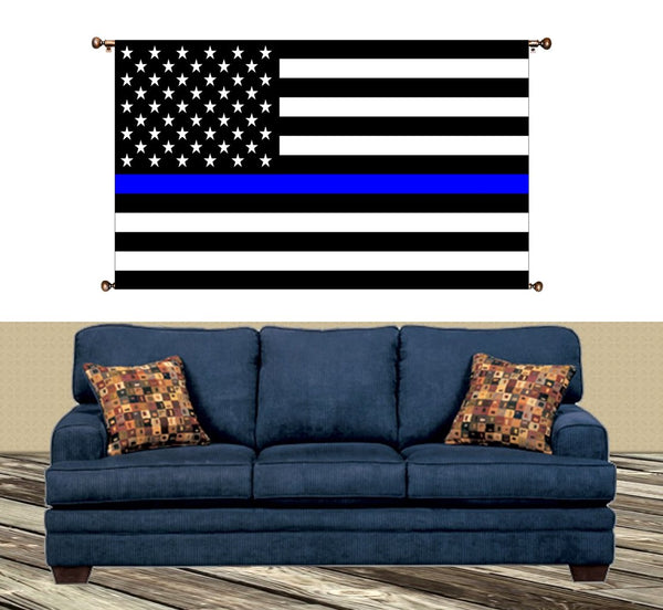 Blue Lives Matter, Flag with Blue Line Picture on Large Canvas Hung on Copper Rod, Ready to Hang, Wall Art Décor