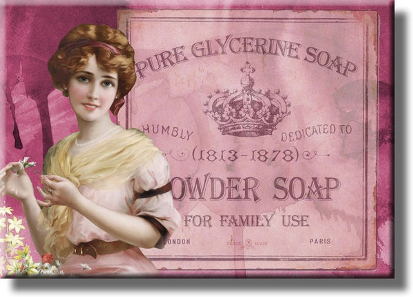 Vintage Powder Soap, Powder Room Picture on Stretched Canvas, Wall Art Décor, Ready to Hang
