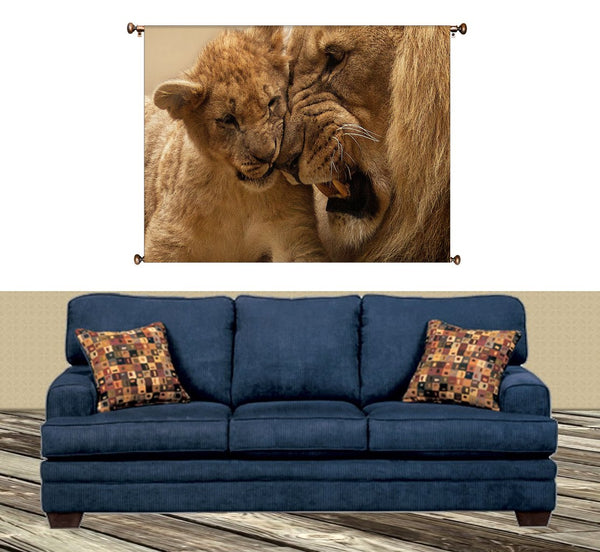 Lion and Cub Playing Picture on Canvas Hung on Copper Rod, Ready to Hang, Wall Art Décor