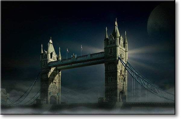 London Tower Bridge at Night Picture on Stretched Canvas, Wall Art Decor, Ready to Hang