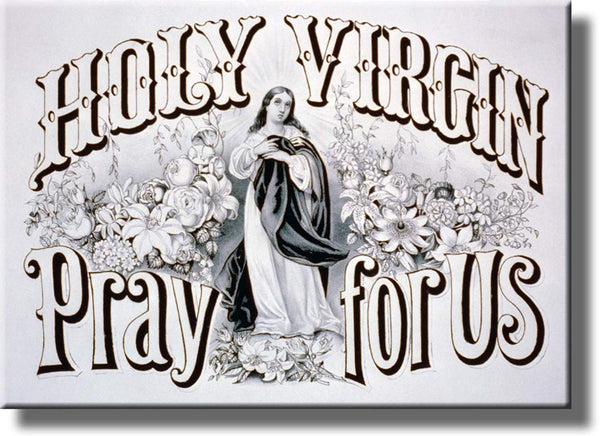 Holy Virgin Pray For Us Religious Picture Made on Stretched Canvas Wall Art Decor Ready to Hang!.