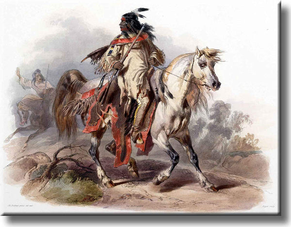 Indian on Horse Vintage Picture on Stretched Canvas, Wall Art Decor, Ready to Hang