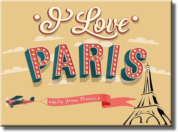I Love Paris, Hello from France Picture on Stretched Canvas, Wall Art Decor, Ready to Hang