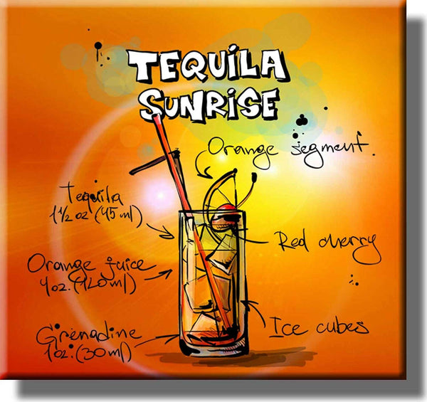 Tequila Sunrise Cocktail Recipe Picture on Stretched Canvas, Wall Art Decor, Ready to Hang!