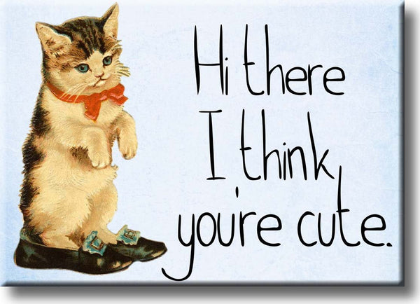 Hi There I Think You're Cute, Kitten Picture on Stretched Canvas, Wall Art Decor, Ready to Hang