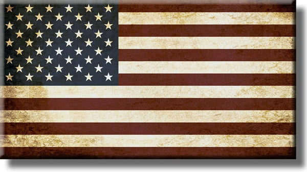 Vintage American Flag Picture on Stretched Canvas, Wall Art Décor, Ready to Hang