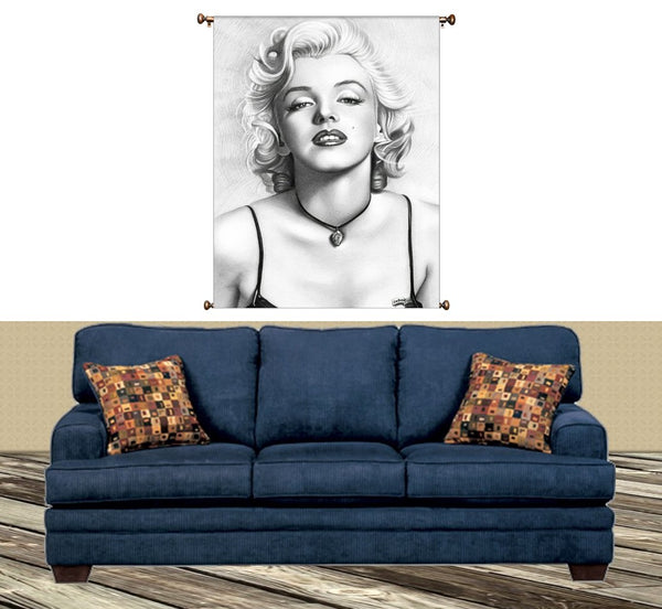 Marilyn Monroe Drawing Picture on Canvas Hung on Copper Rod, Ready to Hang, Wall Art Décor