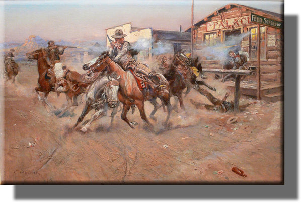 Cowboy Gun Fight Wild West Picture on Stretched Canvas, Wall Art Decor, Ready to Hang!