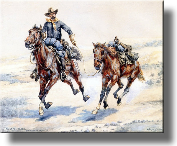 The Empty Saddle Cowboy Picture on Stretched Canvas, Wall Art Décor, Ready to Hang!