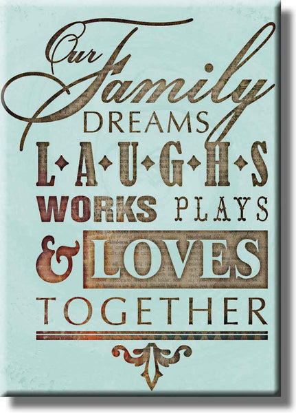 Family Together Motivational Note Picture on Stretched Canvas, Wall Art Décor, Ready to Hang!