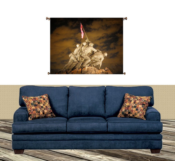 US Marine Corps War Memorial (Iwo Jima) Picture on Canvas Hung on Copper Rod, Ready to Hang, Wall Art Decor