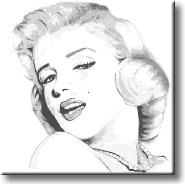 Marilyn Monroe Drawing Picture on Stretched Canvas, Wall Art Décor, Ready to Hang