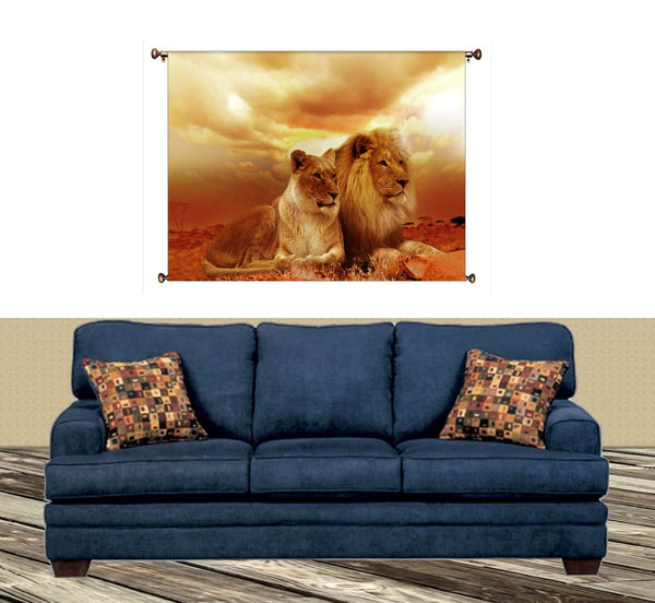 African Lion and Lioness Picture on Canvas Hung on Copper Rod, Ready to Hang, Wall Art Décor