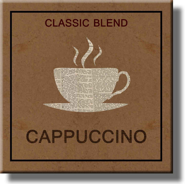 Cup of Cappuccino Coffee Picture on Stretched Canvas, Wall Art Décor, Ready to Hang!