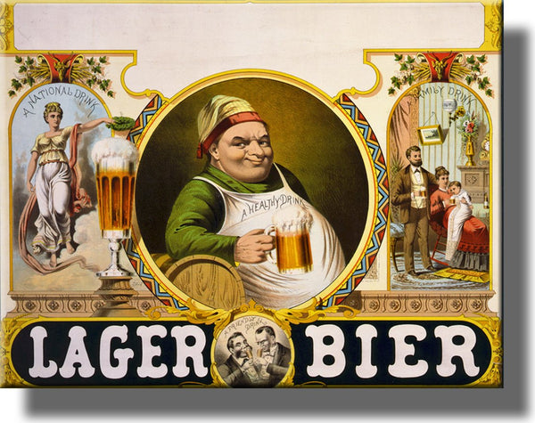 Vintage Lager Bier Beer Picture on Stretched Canvas Wall Art Décor Framed Ready to Hang!